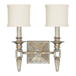 Capital Lighting Fixture Company - Palazzo Silver and Gold Leaf Two-Light Sconce - -Shade Type/Material - Decorative Fabric Clip On Shades  - Shade Dimensions 5.1W x 5.04H Capital Lighting Fixture Company - 8482SG-535