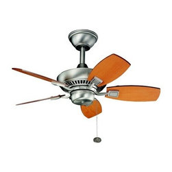 Kichler 300103NI Canfield 30 in. Indoor Ceiling Fan/Outdoor Ceiling Fan - Brushe - Whether relaxing on your enclosed patio or lounging in your favorite chair, the Kichler Canfield 30-inch Indoor/Outdoor Ceiling Fan in Brushed Nickel lets you do it in comfort. This traditional style ceiling fan is damp rated and can be used to keep the breeze moving on your enclosed porch or in any room of the home. Its five wide blades are reversible and feature maple or marive cherry sides while its decorative housing features a beautiful brushed nickel finish that matches well with a variety of decor settings. A 3-speed pull chain lets you adjust the spin to suit your comfort level.UL CSA listed for damp location useFan blades must be a minimum of 7-feet above the floorMotor: 153mm x 17mmBlade Pitch: 24 degreesLight kit and downrods sold separatelyKichler QualitySince 1938, Cleveland-based Kichler Lighting has been known for their innovative designs and excellent craftsmanship. Kichler is the world's leading decorative lighting fixture company and the winner of four ARTS Lighting Manufacturer of the Year awards. Kichler designers travel the world to discover the latest trends in exterior and interior style, colors, and designs. They then translate the best of those trends into fixtures that will bring beauty, pleasure, and light into your home. Kichler fixtures stand the test of time and are functional works of art that you're sure to treasure.Warranty and Limitations.Aside from the exceptions noted below, seller warrants the products it provides will be free from defects in material and workmanship for 1 (one) year following the date of shipment. The exceptions are:The exterior finish on LifeBrite outdoor lanterns, which have lifetime warranties for as long as the original purchaser owns it.Energy Star products have a two-year warranty.There are no warranties on light bulbs.There are no warranties on the finish on outdoor polished brass products.