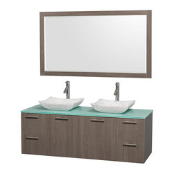 Wyndham Collection - 60 in. Wall-Mount Vanity Set - Includes two sinks, green glass top, mirror, drain assemblies and P-traps for easy assembly. Faucets not included. Square Carrera marble sinks. Two functional doors. Concealed soft close door hinges. Modern brushed chrome door pulls. Unique and striking contemporary design. Four functional drawers. Fully-extending soft-close drawer slides. Deep doweled drawers. Single-hole faucet mount. Plenty of storage space. Eight-stage preparation, veneering and finishing process. Highly water-resistant low V.O.C. sealed finish. Metal exterior hardware with brushed chrome finish. Wall-mount design. Mirror glass thickness: 0.75 in.. Warranty: Two years limited. Made from beautiful veneers over highest quality grade E1 MDF. Gray oak finish. Door: 17.25 in. W x 20.5 in. H. Drawer: 12.63 in. W x 10.13 in. H. Mirror: 58 in. W x 33 in. H (67 lbs.). Vanity: 60 in. W x 22.25 in. D x 21.25 in. H (124 lbs.). Handling Instructions. Installation Instructions - Mirror. Installation Instructions - VanityModern clean lines and a truly elegant design aesthetic meet affordability in the Wyndham Collection Amare Vanity. Each vanity provides a full complement of storage areas behind sturdy soft-close doors and drawers. A wall-mounted vanity leaves space in your bathroom for you to relax. The simple clean lines of the Amare wall-mounted vanity family are no-fuss and all style.