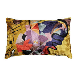 "Modern Silk - Kandinsky Pillow Cover Yellow Red Blue Oblong Hand Embroidered 13"" x 21"" - Kandinsky believed that art could visually express music, and is credited for painting the first modern abstractions. He was immensely inspired by the radiantly colorful and fanciful churches and homes of Russia. In ""Farbstudie Quadrate,"" color and rhythm make beautiful music together and the artisans of Kashmir have crafted this beautiful decorative pillow cover from this abstraction. This cover could grace the cabin of your boat or the chair in your solarium and yet be equally as comfortable in your den."