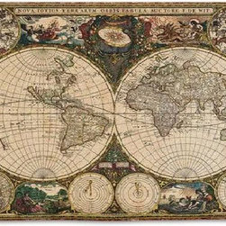 None - Old World Map Wall Tapestry - Show off your love for history when you display this map wall tapestry in your home. Featuring an Old World-style map and crafted of jacquard-woven cotton, this tapestry will make a beautiful addition to any decor. Rod pockets provide for easy hanging.