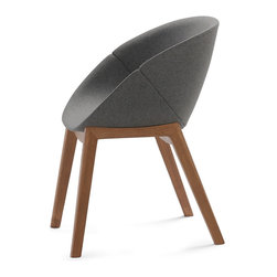 DomItalia Furniture - Coquille-L Dark Grey Armchair / Walnut Legs (Set of 2) - Chair can be used in your kitchen or dining room. This armchair is a great addition to any modern home with its vibrant color, great comfort and is versatility. The Domitalia Coquille-L Armchair with Walnut Legs (Set of 2) features an ash wood frame with an integral polyurethane seat. The wood legs are in walnut finish.
