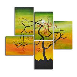 "Serpentine tree panels Hand Painted 5 piece canvas set - Size: 54"" x 56"" (16"" x 24"" x 5pc)"