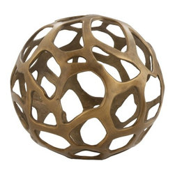 Arteriors - Ennis Large Sphere, Antique Brass - Easy style with a sphere! Part sculpture, part decorative accessory, this large sphere has a fun free-form cutout design. Boost up visual interest by pairing it with a matching smaller sphere or give it center stage in a decorative bowl.