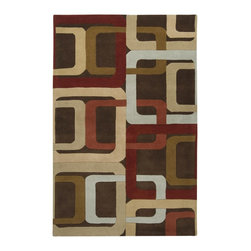 """Surya - Surya Forum Hand Tufted Brown Wool Square Rug, 9'9"""" - Bright and bold Retro colors combined with dramatic linear designs give the rugs of the Forum Collection a unique style. Hand Tufted in India from 1% Wool these rugs are soft to the touch while exciting to the eyes. The vivid color combinations and striking patterns make these rugs ideal for contemporary spaces. Imported.Material: 100% WoolCare Instructions: Blot Stains"""