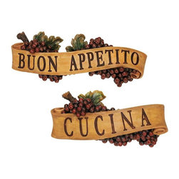 """EttansPalace - Italian Buon Appetito and Cucina Kitchen Grapes Sculptural Wall Plaque Decor - You're sure to enjoy this proclamation exclaimed in Italy and beyond! Our grape-laden, scrolled wall plaque is cast in quality designer resin and hand-painted as a perfect gift for yourself or someone who shares your love of life and food. Each approx. 14.5""""W x 3""""D x 5.5""""H. 1 lb. Sawtooth hanger"""