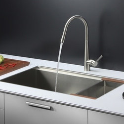 Ruvati - Ruvati RVC2374 Stainless Steel Kitchen Sink and Stainless Steel Faucet Set - Ruvati sink and faucet combos are designed with you in mind. We have packaged one of our premium 16 gauge stainless steel sinks with one of our luxury faucets to give you the perfect combination of form and function.