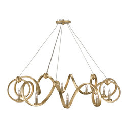 Kathy Kuo Home - Blondell Hollywood Regency Gold 10 Light Candelabra Chandelier - Scintillating serpentine design is cold forged from wrought iron, making this a scene-stealing candelabra chandelier. Twisting and twinkling among the burnished brass are ten luminous lights, adjustable to your preferred position.