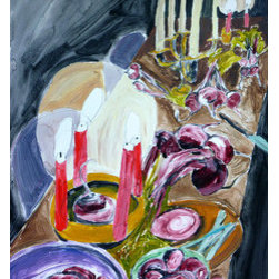 Beet Feast (Original) by Annie Blazejack - This table is prepared for a bright red beet feast.