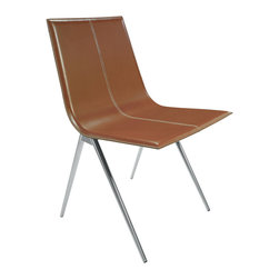 Modloft - Mayfair Dining Chair, Whisky Leather - Mayfair dining chair features carbon steel frame with leather seat. Measures 19 x 22 x 33. Available in multiple colors. Made in Brazil. Imported.