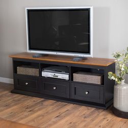 Belham Living - Belham Living Hampton TV Stand with Drawers - Black/Oak - KG-043A-BO - Shop for Visual Centers and Stands from Hayneedle.com! Give your home theater a classic casual style and plenty of storage with the Hampton TV Stand with Drawers - Black/Oak. A smart TV stand this one is well-made with a solid wood frame engineered wood sides and back and an oak veneer top. Its two-tone finish of deep black and oak bring style home. It features a generous top and is sturdy enough to hold up to a 60-inch flat screen. Three open cubbies are perfect for media components and display pieces. Three spacious drawers below offer ample storage space. Smooth metal drawer glides offer easy operation and the brushed metal knobs and framed drawers add detail. About Belham Living Belham Living builds catalog-quality furniture in traditional styles at a price that actually makes sense. By listening to our customers and working closely with great manufacturers we build beautiful pieces worthy of your home. Rich wood finishes attention to detail and stylish lines that tie everything together are some of the hallmarks of a Belham Living piece. From the living room or bedroom through the kitchen and out onto the deck there's something from an incredible Belham collection perfect for your style.