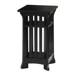 Wayborn - Small Temple Pedestal in Black - 2 Shelves. Made from Pinus Sylvestris. Antique smooth finish/worn. 13 in. L x 13 in. W x 24.5 in. H (19 lbs.)