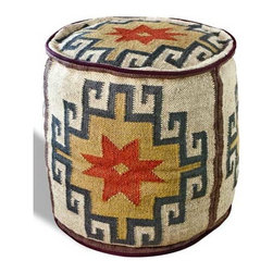 Interlude Home - Interlude Home Mount Fray Ottoman - This Interlude Home Ottoman is crafted from Wool and finished in Multi.  Overall size is:  18 in. W x  18 in. D x 19 in. H.