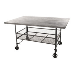 Kathy Kuo Home - Urban Mercantile Galvanized Steel Industrial Work Station - You'll want to get busy with this industrial-inspired piece. It's got a galvanized steel top, iron mesh storage bins and wheels to go with your flow, making it the ultimate alternative desk for your favorite eclectic setting.