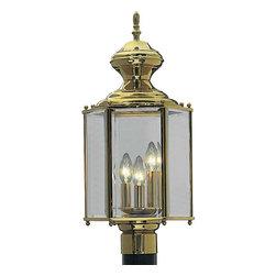Progress Lighting - Progress Lighting P5432-10 3 Light Outdoor Post Light In Polished Brass - Progress Lighting P5432-10 3 Light Outdoor Post Light In Polished Brass