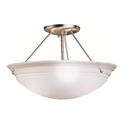 "BUILDER - BUILDER 3122NI Cove Molding Top Glass Transitional Semi-Flush Mount Ceiling Ligh - Utilizing basic shapes and a simplistic design, the Family Spaces Pendant Collection provides fantastic lighting and classic style that goes with any décor. Our Brushed Nickel finish adds to the clean look of Family Spaces fixtures while the Satin-etched white glass generates a soft and pure ambiance in your home. This semi-flush pendant employs a 3-light design that uses 100-watt (max.) bulbs to light this 15"" diameter fixture."