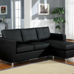 "Acme - 2-Piece Black Bycast Leather-Like Reversible Chaise Sectional Sofa - 2-Piece black bycast leather like upholstered reversible chaise sectional sofa with chrome legs. This set comes with the sofa with a reversible ottoman chaise. Measures 79"" x 33"" x 28"" H. Chaise measures 56"" Long. Some assembly required."