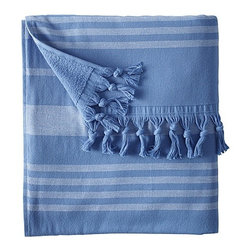 Fouta Beach Towel, Baltic - The Fouta Turkish beach towel is all about relaxation and sophistication. I also happen to think it is simply stunning. Come out of your bath to one of these, and you may just think you are stepping out of the Mediterranean.