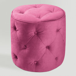 World Market - Pink Tufted Velvet Round Ottoman - Our Tufted Velvet Ottoman offers a plush place to put your feet up for total relaxation - in absolute style! Inspired by antique furniture, this sturdy velvet-covered creation with piping detail also works double duty as extra seating for guests. A great vintage look for less!