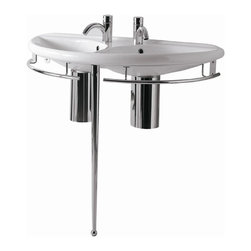 Whitehaus - China Semi-Circular Double Bowl Console Basin - Includes chrome overflow, polished chrome towel rails, leg support and mounting hardware. Faucet not included. Single hole faucet drilling per basin only. Made from porcelain. White color. Inside: 22.5 in. W x 11.5 in. D x 4.88 in. H. Overall: 38 in. W x 18.88 in. D x 33 in. H (42 lbs.). Warranty-1