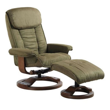 """MAC MOTION CHAIRS - Mac Motion Chairs Sage Green Microfiber Swivel Recliner w/ Ottoman - Plush is the word for this unique Euro Design motion chair and matching ottoman. Features for this comfortable chair include 360 degree pinion swivel with multiple reclining position adjustment. Matched with angled ottoman for lower leg support and to complete therapy seating. Complimented by plush microfiber material in a light """"Sage"""" color with a warm """"Walnut"""" wood frame finish."""