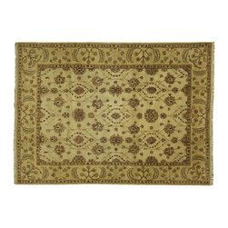 Manhattan Rugs - 8 x 11 Ivory Floral Hand Knotted Wool Chobi Area Rug Oriental Persian H307 - This is a true hand knotted oriental rug. it is not hand tufted with backing, not hooked or machine made. our entire inventory is made of hand knotted rugs. (all we do is hand knotted)