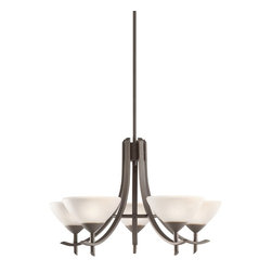Kichler Lighting - Kichler Lighting 1679OZW Olympia Transitional Chandelier - The Olympia Collection brings a modern twist on the classic aesthetic to create a new form the likes of which has not been seen before. The curvilinear, flowing arms of these chandeliers, pendants, and wall sconces create a clean, contemporary profile for your home. The Olde Bronze finish combined with Sunset Marble glass diffusers and shades present a natural color palate capable of matching any décor. This medium-sized, 5-light Olympia chandelier is a wonderful choice for the homeowner looking for a fashionable and functional design. It uses 60-watt (max.) bulbs that, when combined with the satin-etched white glass diffusers, create soft, yet practical light for any room. All in all, a wonderful piece that will certainly enhance your home.