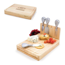 Picnic Time - Green Bay Packers Asiago Folding Cutting Board With Tools in Natural Wood - The Asiago is a folding cutting board with tools that is another Picnic Time original design. This compact, fully-contained split-level cutting board is made of eco-friendly rubberwood. Lift up the top level of the board to reveal four brushed stainless steel cheese tools: a pointed-tipped cheese knife, cheese fork, cheese chisel knife, and blunt nosed hard cheese knife. The tools are magnetically secured to a wooden strip that lifts up so you can close the cutting board and display the tools. Designed with convenience in mind, the Asiago is great for home or anywhere the party takes you.; Decoration: Engraved; Includes: 4 brushed stainless steel cheese tools (1 pointed-tipped hard cheese knife, cheese fork, cheese chisel knife, and blunt nosed soft cheese knife