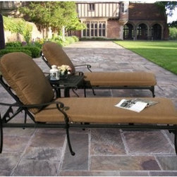 Oakland Living Hampton Chaise Lounge Set - Contemporary, upscale, and super-comfy, the Oakland Living Hampton Chaise Lounge Set is just what you need to enjoy summer to the fullest. Exuding an upscale appeal that is sure to be the envy of neighbors, this set makes the perfect addition to your patio or poolside. The deep, generous seat, supportive back, and super-comfy cushions in choice of standard or Sunbrella will envelope you in luxurious comfort whether you're sunning, flipping through your favorite magazine, or keeping an eye on the kids in the pool. The side table keeps your snacks and beverages within arm's reach, so you can focus on relaxing like never before. Each piece is hand cast from rust-resistant cast aluminum and sports hardened powder-coat Antique Bronze finish that's fade-, chip-, and crack-resistant and stays like new season after season.Dimensions:Chaise lounge (each): 71L x 33W x 38H inchesSide table: 21L x 21W x 18H inches