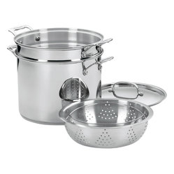 Cuisinart - Cuisinart Chef's Classic Stainless Steel 12-Quart Pasta/Steamer 4-Piece Set - Brilliant stainless steel finish for classic look and professional performance