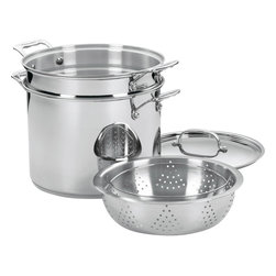 Cuisinart - Cuisinart Chef's Classic Stainless Steel 12-Quart Pasta/Steamer 4-Piece Set - Brilliant stainless steel finish for a classic look and professional performance