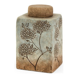"Imax Worldwide Home - Fantina Small Canister with Lid - Aqua shades blend into calm sandy ceramic tones in this serene canister featuring textured floral accents.; Country of Origin: Phillipines; Weight: 5.291 lbs; Dimensions: 10.25""h x 6.25""d"
