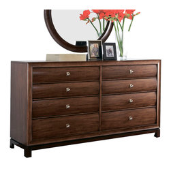 American Drew - American Drew Miramar 8 Drawer Dresser in Auburn on Prima Vera - Belongs to Miramar Collection by American Drew, Auburn on Prima Vera Finish, Smoky Brown Accents, 8 Drawers , Dresser 1