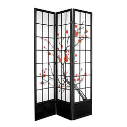 Oriental Furniture - 7 ft. Tall Cherry Blossom Shoji Screen - Black - 3 Panels - Based on the traditional use of shoji rice paper in Japanese homes, this folding room divider doubles down on Eastern style with a beautiful cherry blossom print. Shoji paper is renowned for its ability to allow diffused light while still creating a solid barrier for privacy, and ours comes fiber-reinforced for added durability. This extra-tall divider is built from sturdy spruce, and features a wooden kick plate at the bottom to guard against scuffs.