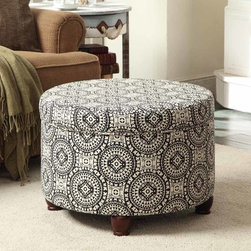 Kinfine - Black/White Medallion Suzani Large Round Storage Ottoman - Add multi-functional style to your home with this black and white storage ottoman. This statement piece comes in fun fashion patterns and can be used to store magazines, throws, toys, accessories or anything else that is taking up too much space.