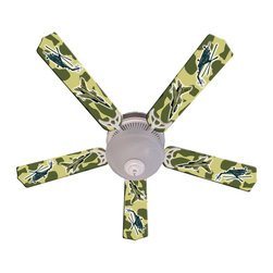 Ceiling Fan Designers - Ceiling Fan Designers Freedom Camo Military Indoor Ceiling Fan - 42FAN-IMA-AMAF - Shop for Ceiling Fans and Components from Hayneedle.com! He's going flip out once he sees the Ceiling Fan Designers Freedom Camo Military Indoor Ceiling Fan in his room. With its cool camo pattern and helicopter design this ceiling fan and light kit combo is perfect. It comes in your choice of size: 42-inch with 4 blades or 52-inch with 5. The blades are reversible so if he ever gets tired of the camo design just flip the blades over to basic white. Nice! It has a powerful yet quiet 120-volt 3-speed motor with easy switch for year-round comfort. The 42-inch fan includes a schoolhouse-style white glass shade and requires one 60-watt candelabra bulb (not included). The 52-inch fan has three alabaster glass shades and requires three 60-watt candelabra bulbs (included). Your ceiling fan includes a 15- to 30-year manufacturer's warranty (based on size). It is not an officially licensed product. Licensed products were used as decorations.