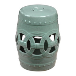 Uttermost - Uttermost 24601 Old Sage Contemporary / Modern Garden Stool - A fresh, sage colored room accent based on Chinese tradition, this ceramic garden stool has an airy feel, crafted by hand with open cutouts and raised dot accents.
