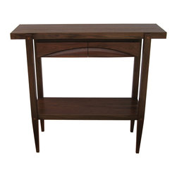"""Furniture - This is a walnut side or hall table with two drawers. the drawer fronts were carved out of one solid piece of 2"""" walnut, then cut in two to create the drawer fronts. It is much taller than a traditional side table, as it stands 42"""" tall. I wanted it to be an oddity and the height actually works very well for a hall table. It has cherry splines in the mitered corners and square pegs"""