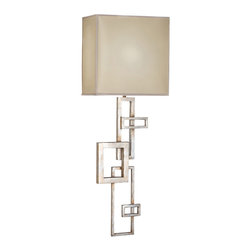 Fine Art Lamps - Portobello Road Sconce, 545150ST - A geometric design of overlapping rectangles form the stem of this art deco–inspired sconce, which is finished in a platinized silver leaf and topped with a square silk shade. Hang it on a solid colored wall to let the bold design stand out.