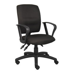 Boss Chairs - Boss Chairs Boss Multi-Function Fabric Task Chair with Loop Arms - Upholstered in black Crepe fabric. Back angle lock allows the back to lock throughout the angle range for perfect back support. Seat tilt lock allows the seat to lock throughout the tilt range. Pneumatic gas lift seat height adjustment. Nylon base. Hooded double wheel casters. Loop arms.
