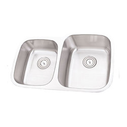 """TCS Home Supplies - 32 Inch Stainless Steel Undermount 40/60 Double Bowl Kitchen Sink - 16 Gauge - 16 Gauge Stainless Steel Kitchen Sink.  40/60 Offset Double Bowl.  Undermount Installation.  Brushed Stainless Steel Finish.  Dimensions 31-3/4"""" x 20-1/2"""" x 7-1/8"""" 