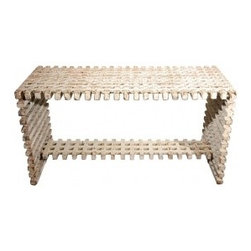 EcofirstArt II - THIS CUSTOM WHITE ARCHITECTURAL CONSOLE IS REPURPOSED OF SUBSTANTIAL OLD LATTICE. THE PAINT IS ORIGINAL WITH GREAT PATINA.