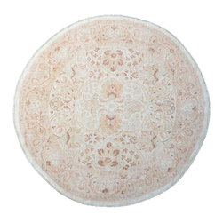 1800-Get-A-Rug - Hand Knotted Rug Ziegler Mahal Milk Wash Round Sh11922 - About Oushak and Ziegler Mahal