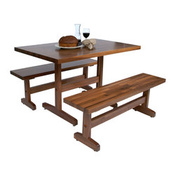 John Boos - Boos Walnut Trestle Table & Optional Benches for Casual Dining or Work - John Boos Walnut Trestle Dining Table: 1-1/2-in.-thick black walnut top. 12 sizes from 48 x 30 to 72 x 36. Matching benches are also available. WAL-AM-FARM-TR