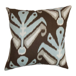 "The Pillow Collection - Sakon Ikat Pillow Ikat Aqua Cocoa - Redesign your interiors with this plush decor pillow. This accent pillow is a perfect blend of style and comfort. Place this square pillow anywhere inside your home for a relaxing atmosphere. This 18"" pillow comes with a unique ikat pattern with shades of blue, brown and gray. This throw pillow is easy to clean and made from 100% soft cotton material. Hidden zipper closure for easy cover removal.  Knife edge finish on all four sides.  Reversible pillow with the same fabric on the back side.  Spot cleaning suggested."