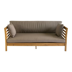 Safavieh - Safavieh Outdoor Living Malibu Ash Grey Acacia Wood Beige Cushion Daybed - A contemporary twist on a resort classic,the Malibu daybed transforms any outdoor space into a relaxing Zen oasis.