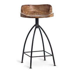 Henson Counter Stool - With a decidedly half rustic, half vintage appeal merged with an industrial feel, the Henson Counter Stool fits with so many great looks and styles. A swivel wood seat with a natural wax finish contrasts beautifully with tall iron legs in a simple but beautiful design aesthetic that turns heads and makes for envious house guests.