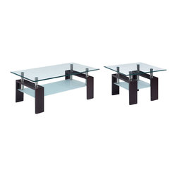Global Furniture - Global Furniture USA T646 2 Piece Glass Coffee Table Set w/ Black Legs - This table is complete with clear top glass and frosted bottom glass with black legs to finish the look.