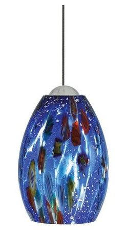 LBL Lighting - LBL Lighting Mini-Monty Blue 50W Monopoint 1 Light Track Pendant - LBL Lighting Mini-Monty Blue 50W Monopoint 1 Light Track PendantSwirling with textures and colors, this exquisitely colorful pendant showcases genuine Italian Murano mouth-blown Blue glass with millefiore glass fusion and silver flakes. An included 50 watt xenon lamp provides ample light and shows off the intricately made glass nicely.Each Monopoint lighting fixture includes a single-point canopy with built-in transformer right out of the box for a quick and easy installation.LBL Lighting Mini-Monty Blue 50W Monopoint Features: