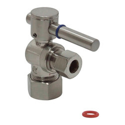 Kingston Brass - Angle Stop with 5/8in. OD Compression x 3/8in. OD Compression - The 1/4-turn angle stop valve features a sleek cylindrical lever which controls the movement of water through and from plumbing fixtures. The valve is made of solid brass built for durability and dependability and also comes in a variety of finishes to better coordinate your kitchen/bathroom.